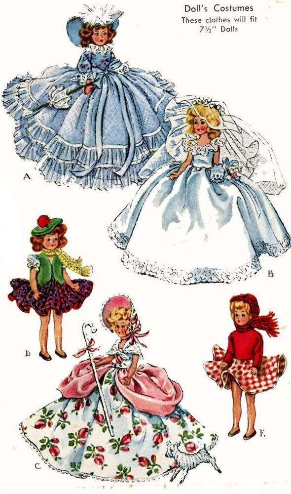 Vintage Doll Clothes Pattern 1653 for 7.5 in Ginny Muffie Alexander ...