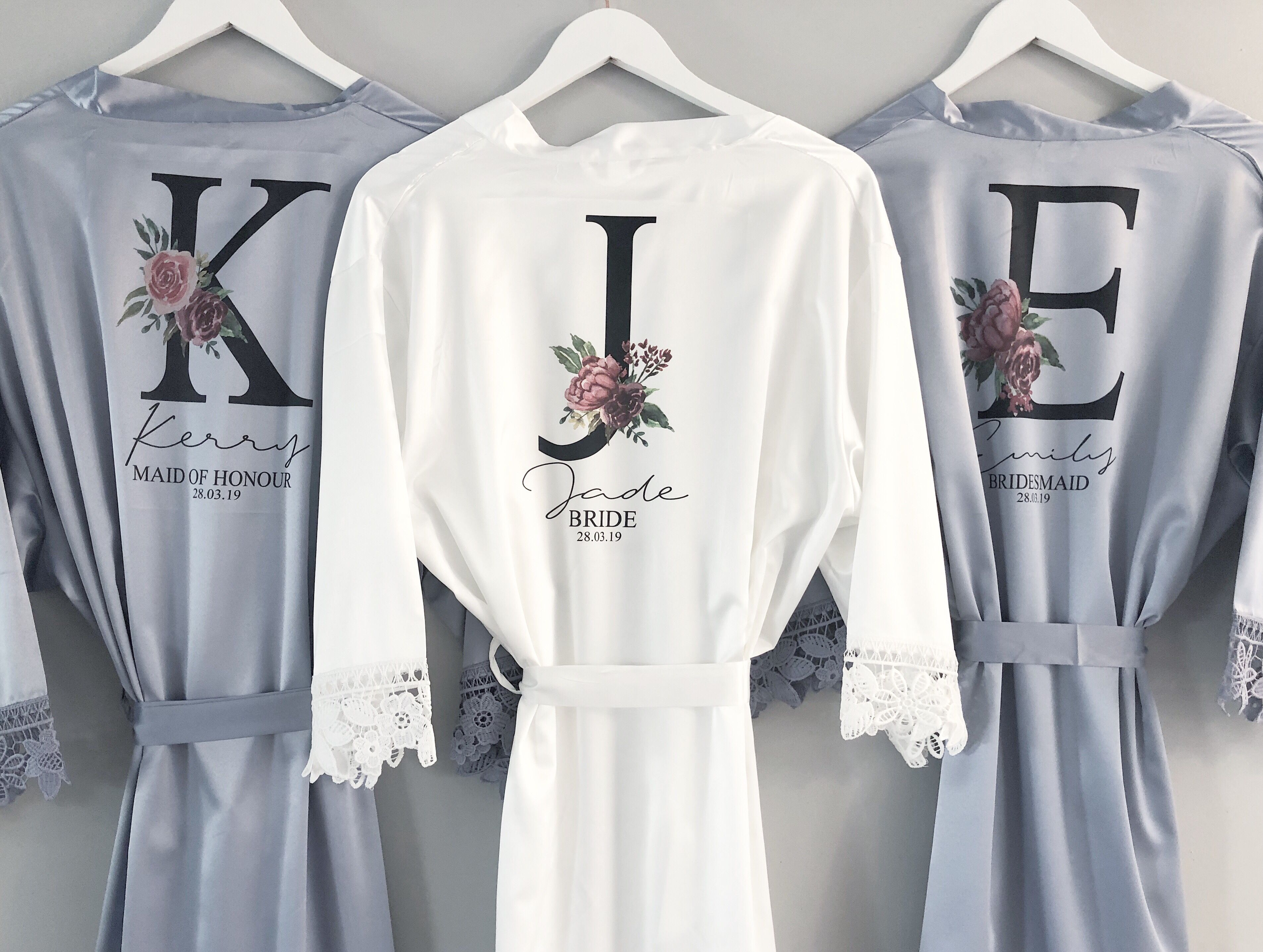 Personalised Father of the Bride bridesman Satin Robe Dressing Gown,Wedding Robe
