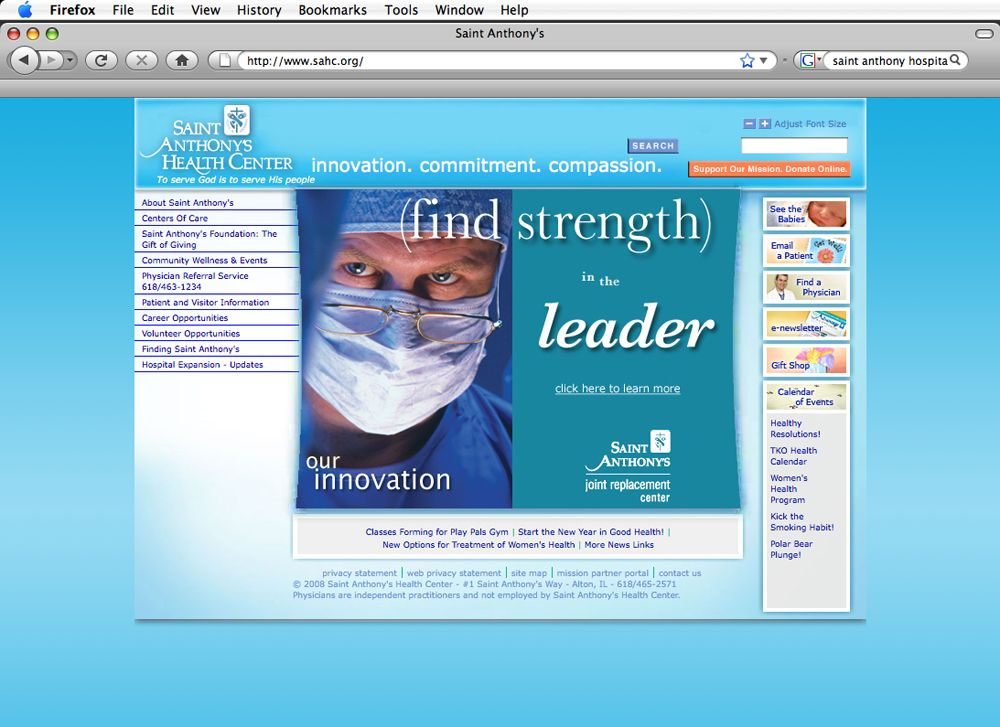 Saint Anthony's (find strength) - Website   Our Work - Healthcare
