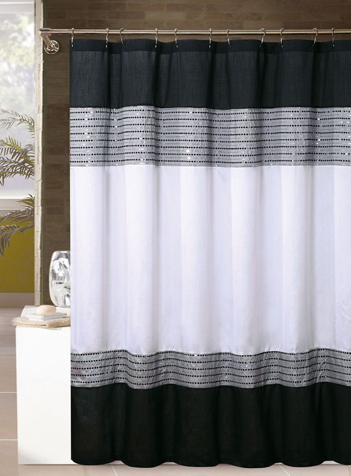 Solano White Black Gray Striped Sequins Fabric Cloth Bathroom Shower Curtain VictoriaClassics