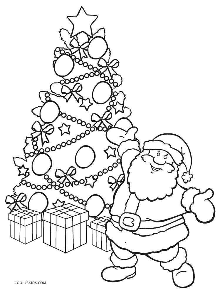Christmas Tree With Santa Coloring Page Santa Coloring Pages Christmas Tree Coloring Page Christmas Tree Drawing