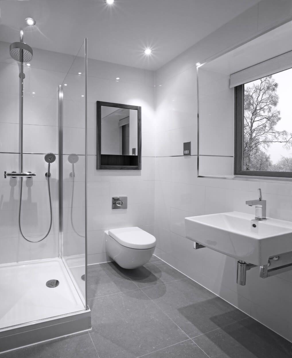 Wall Mounted White Sink Below Large Mirror | Bathroom Ideas ...