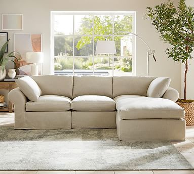 Pb Air Slipcovered 4 Piece Sofa With Chaise Sectional Potterybarn Dimensions Overall 122 Wide X 77 Deep X 37 Sectional Slipcover Slipcovers Sectional