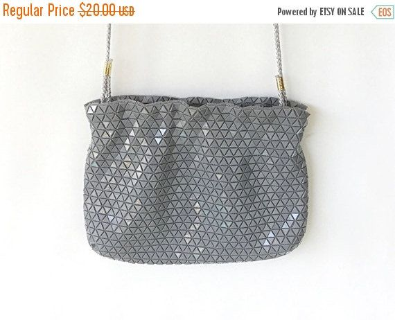 SALE Vintage Signed Artel Handbag, Grey Mesh Handbag, Grey Evening Bag, Grey Purse, Designer Mesh Purse. Gray