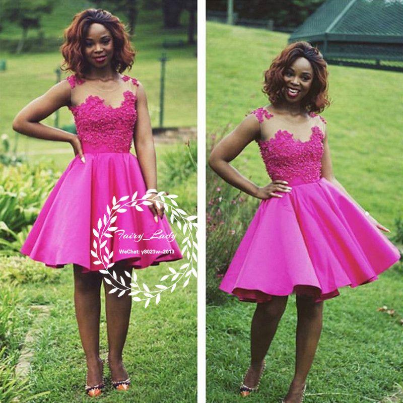 Stylish Fuchsia Short Homecoming Dresses 2018 Appliques and Beading ...