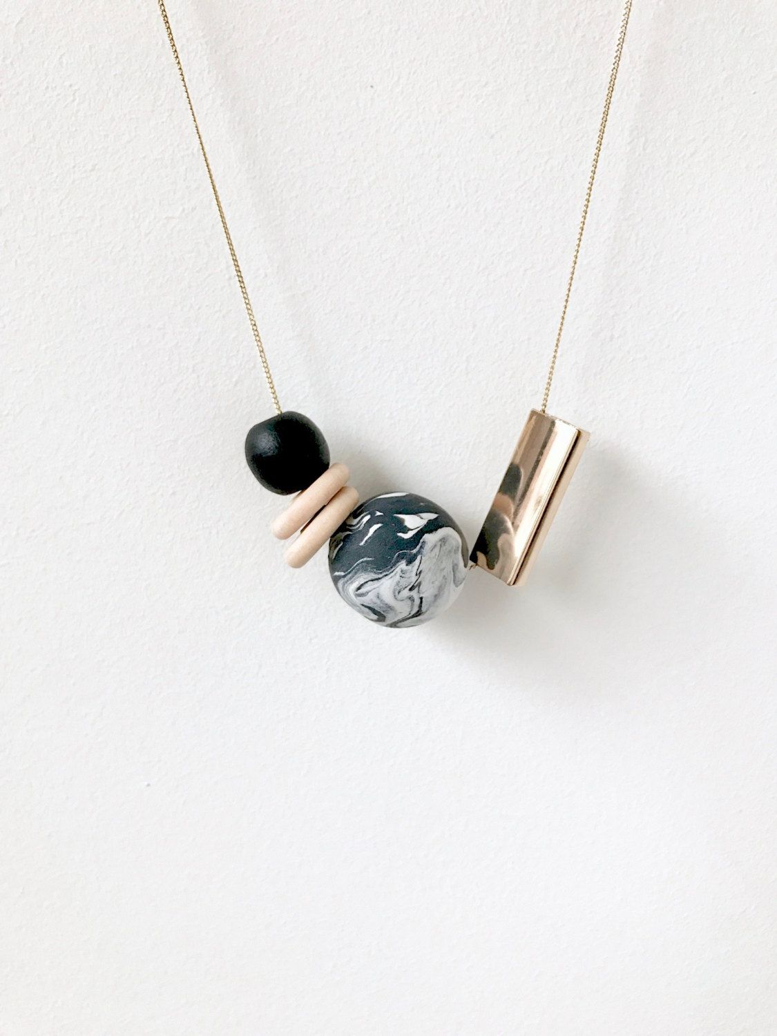 marbled minimalism | statement necklace from marbled black and