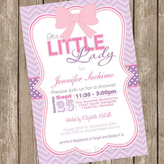 Its A Little Lady Girl Baby Shower Invitation Pink Purple