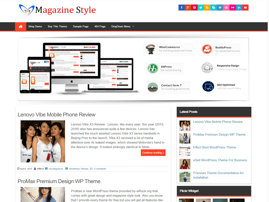 Download Free Magazine Style WordPress theme