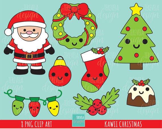 50 Sale Kawaii Christmas Clipart Christmas Clipart Etsy In 2020 Kawaii Christmas Christmas Clipart Christmas Tree Clipart