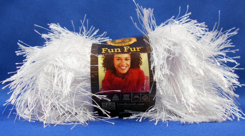 Lion Brand Fun Fur yarn 'White' 1.75 ounce 64 yard ball by BikiniSandi on Etsy