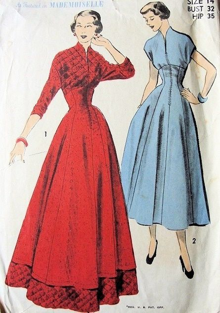 Just the perfect thing to go swanning around the house in on a lazy morning. lol!     (1940s LOVELY HOUSECOAT, ROBE, LOUNGING HOSTESS GOWN PATTERN 2 VERSIONS ADVANCE 5335)