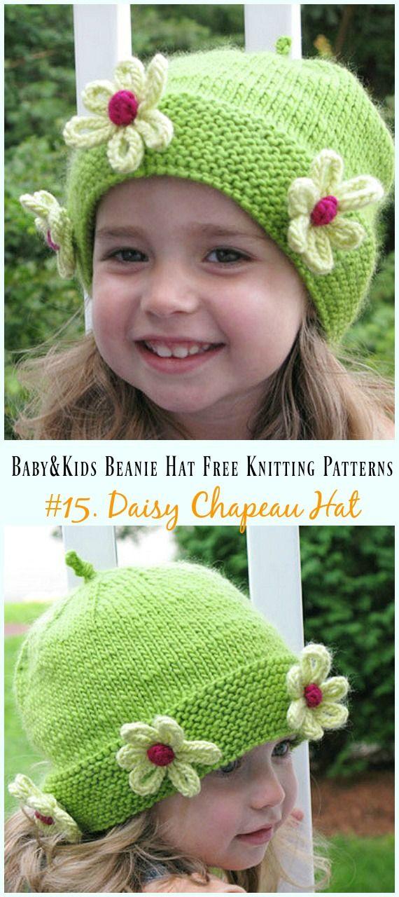 Baby & Kids Beanie Hat Free Knitting Patterns | GORROS Y DIADEMAS ...