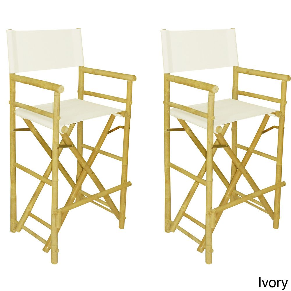 Phat Tommy Foldable Tall Directors Chair Set (Set Of 2) (Ivory), Patio  Furniture (Polyester)