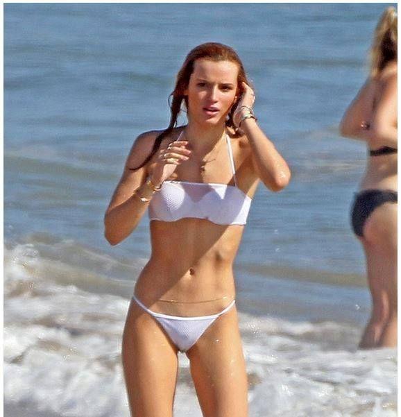 bella thorne string bikini