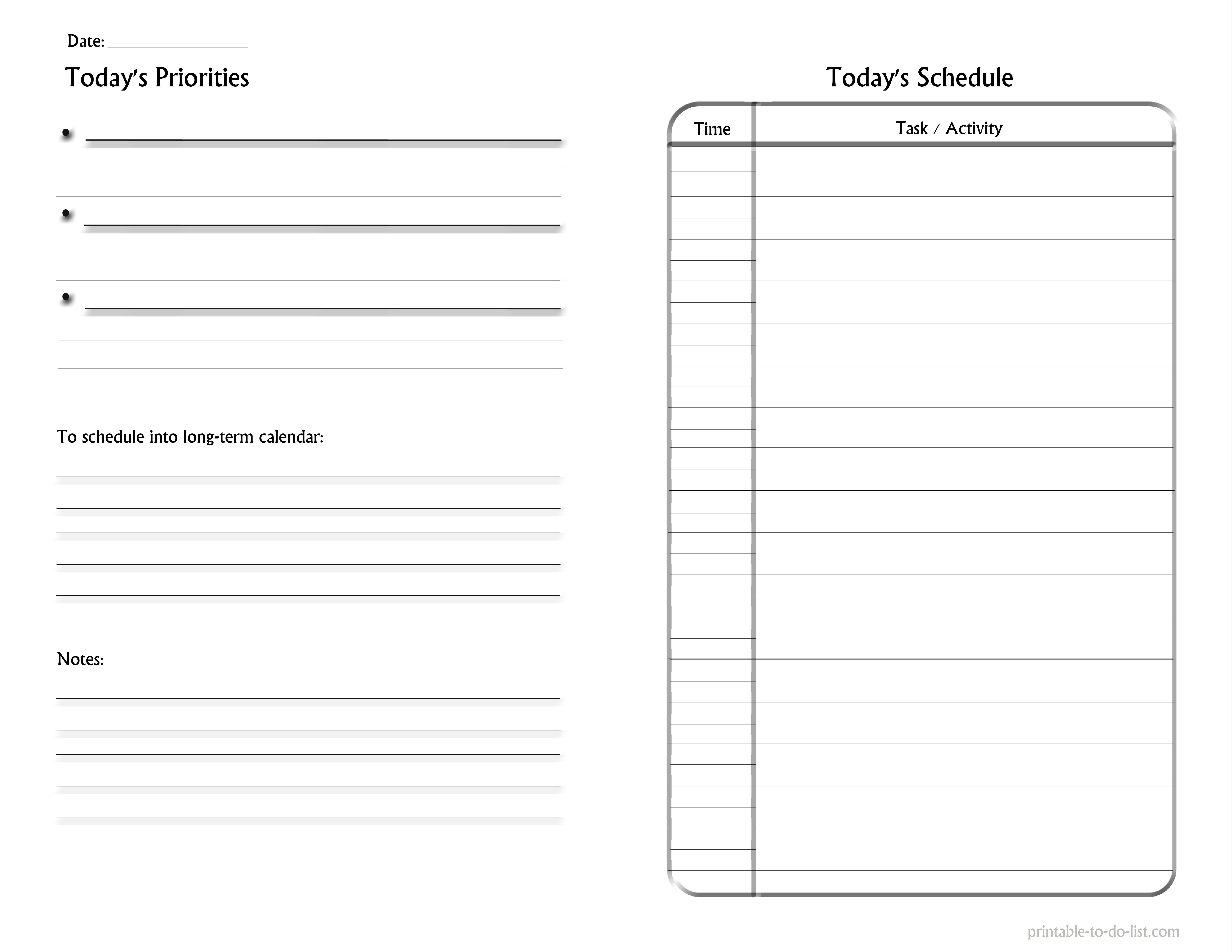 black and white project planner printables