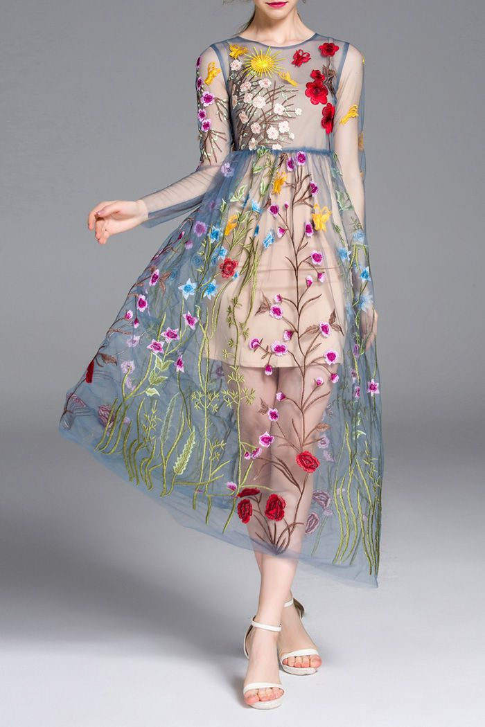 495bebca55 Floral Embroidered Dress With Cami Dress Click on picture to purchase!