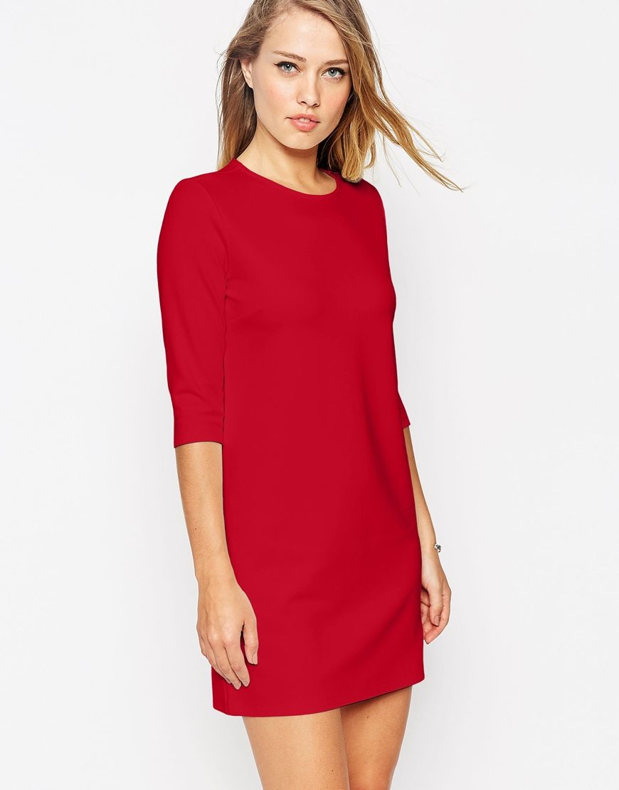 Asos Womens Shift Dress In Ponte With 3/4 Sleeves Red - ASOS Basics