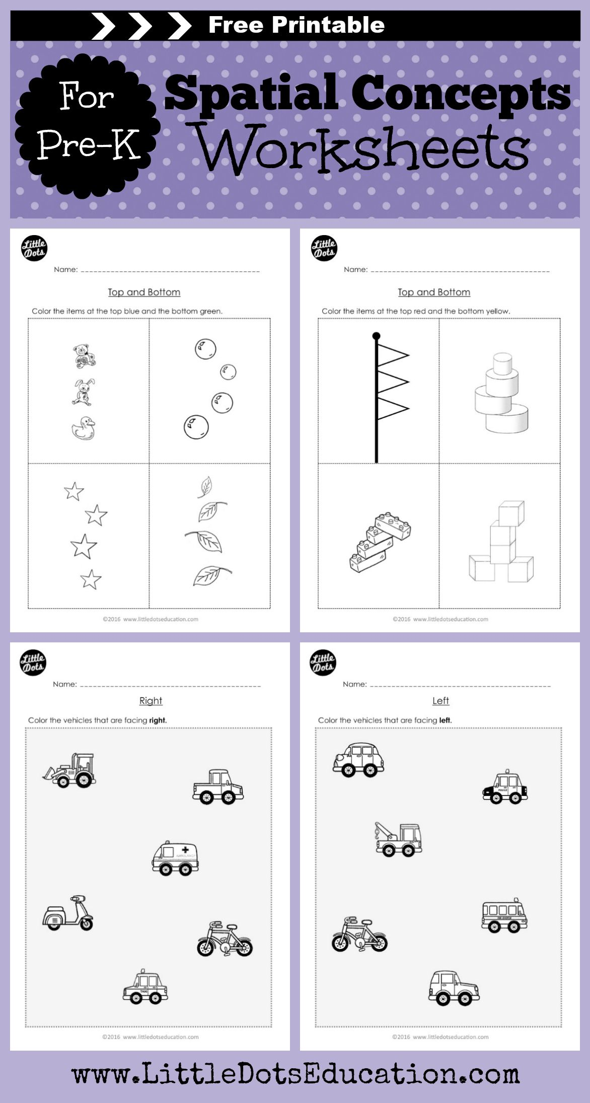 Free Pre K Basic Spatial Concepts Worksheets