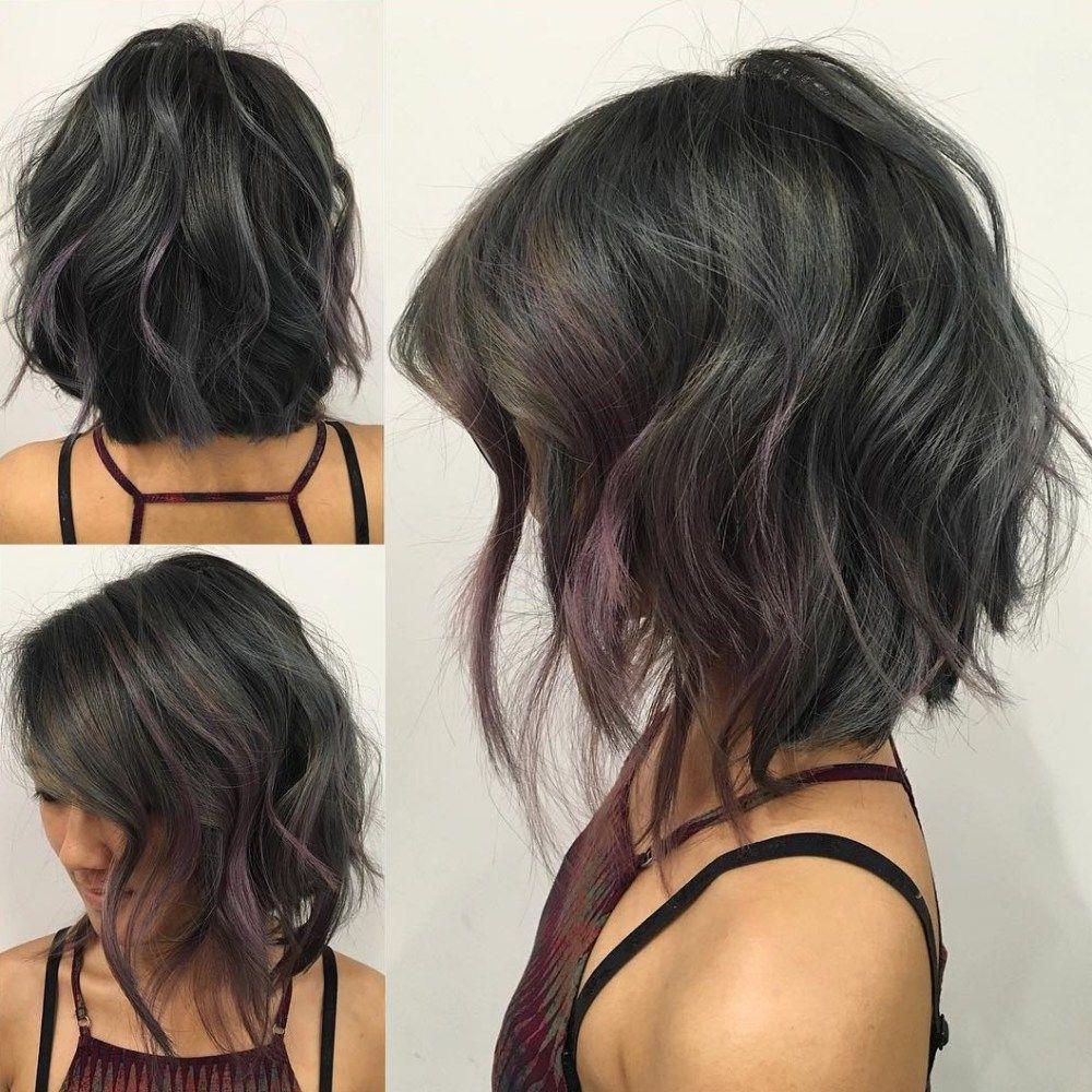 90 sensational medium length haircuts for thick hair | angled bobs