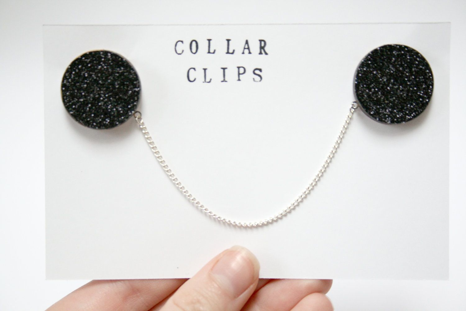 Black Glittered Wooden Collar Clips by ladybirdlikes on Etsy