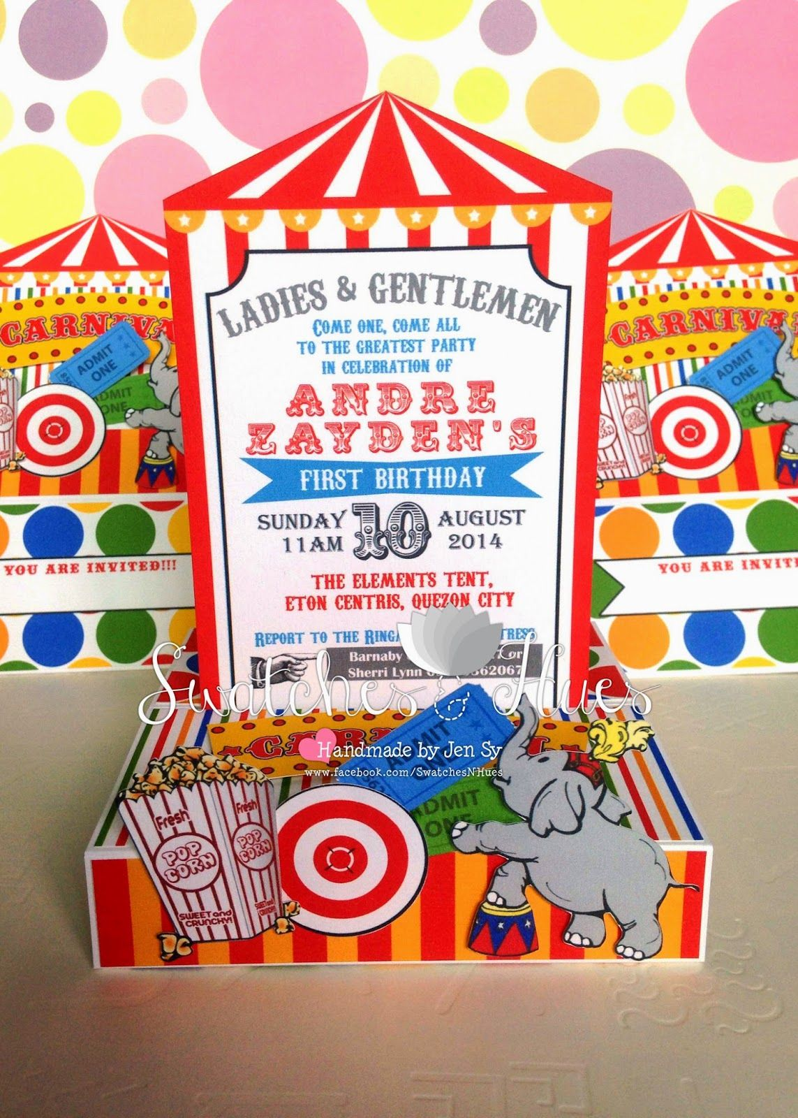 Circus/Carnival themed birthday invitation in a free standing pop ...