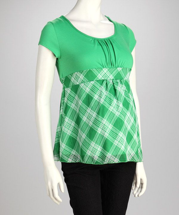 This QT Maternity Green Plaid Maternity Babydoll Top - Women by QT Maternity is perfect! #zulilyfinds