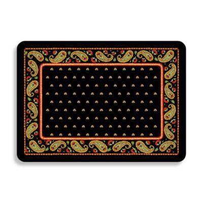 Bungalow Flooring Black Paisley Premium Kitchen Mat