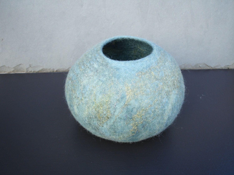 Felt Bowl Duck Egg Blue Blue Grey Blue Green Felted Bowl Vessel