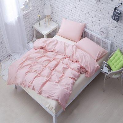 طقم سرير متوسط باللون الزهري الفاتح 4 قطع Bed Home Comforters