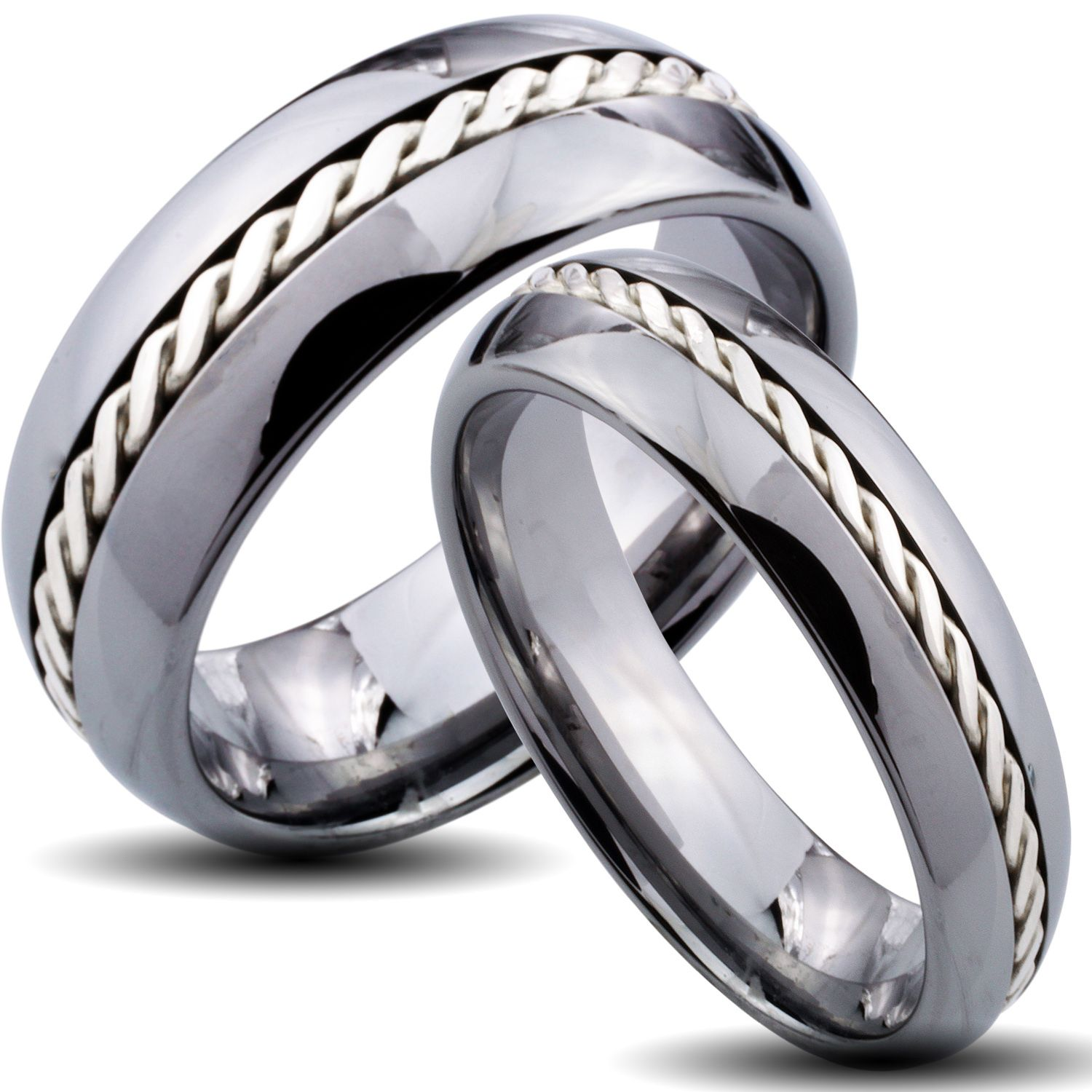 tungsten carbide silver rope inlay his and her wedding band set save 10 14219 was
