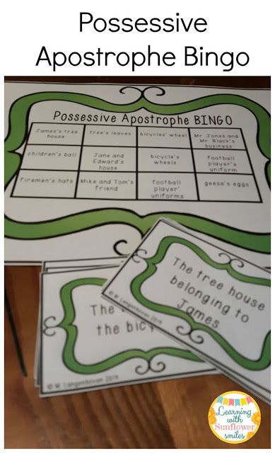 Possessive Apostrophe Bingo Game Learning With Sunflower