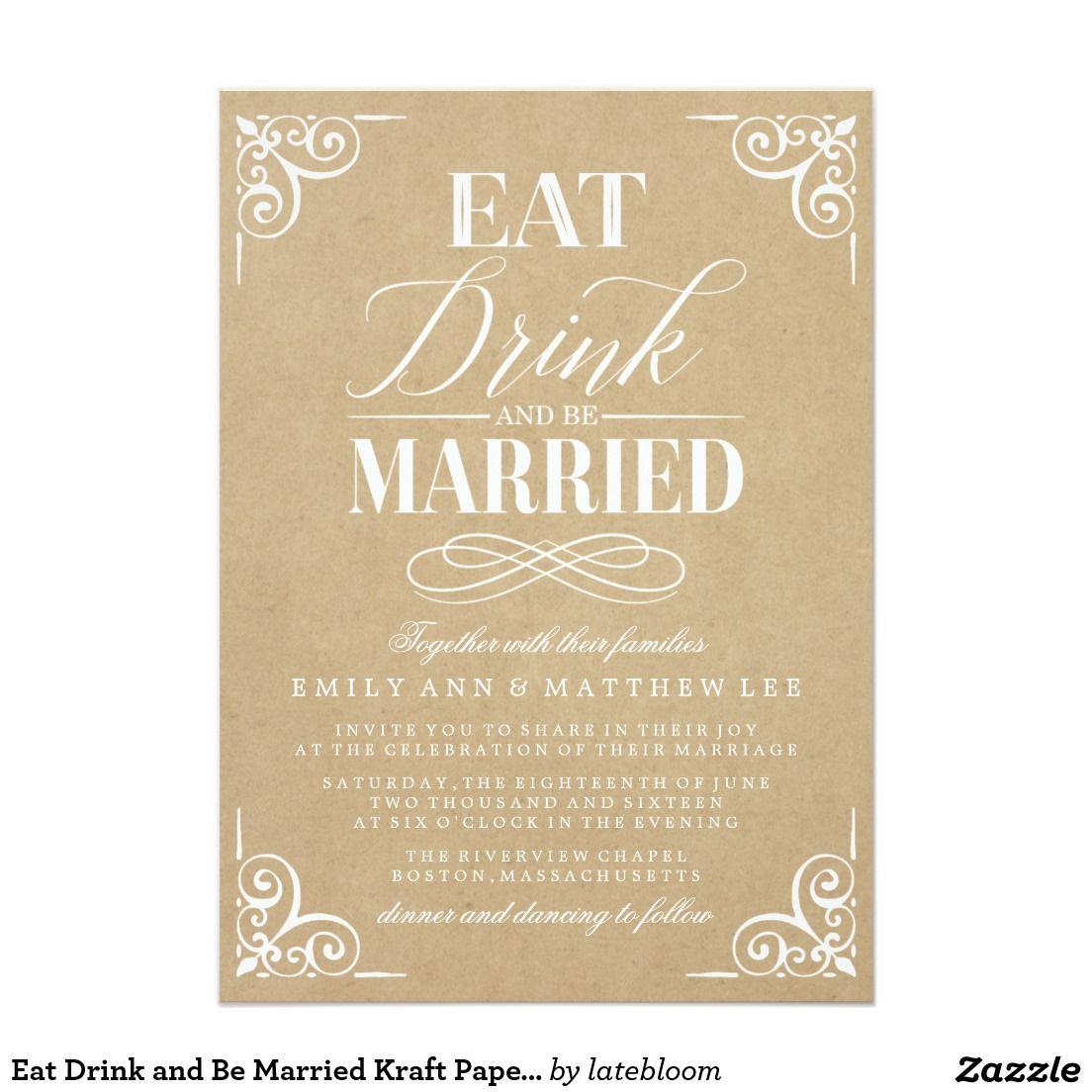 Eat Drink And Be Married Kraft Paper Wedding Wedding Eat Drink