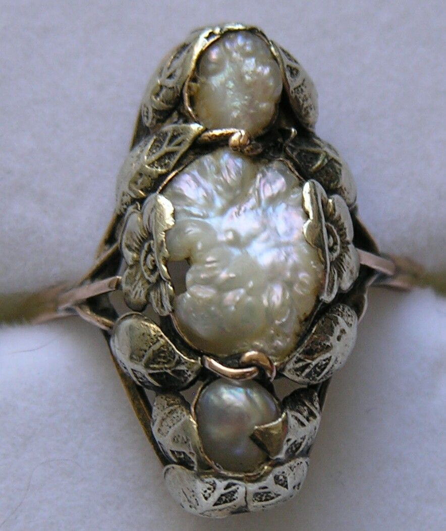 Arts and Crafts Freshwater Pearl Ring