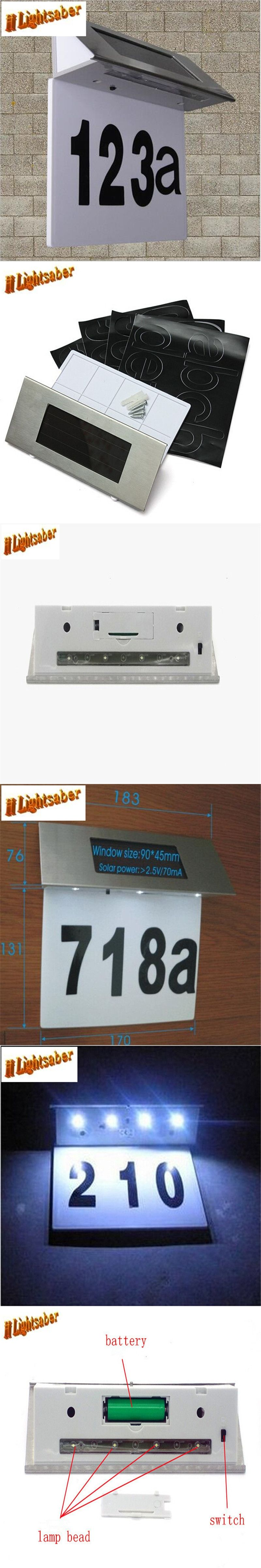 4 Leds Solar Street Light Door Wall Doorplate Plaque Bright Lantern Dimmer Flasher Indicator Plate Lamp Steel