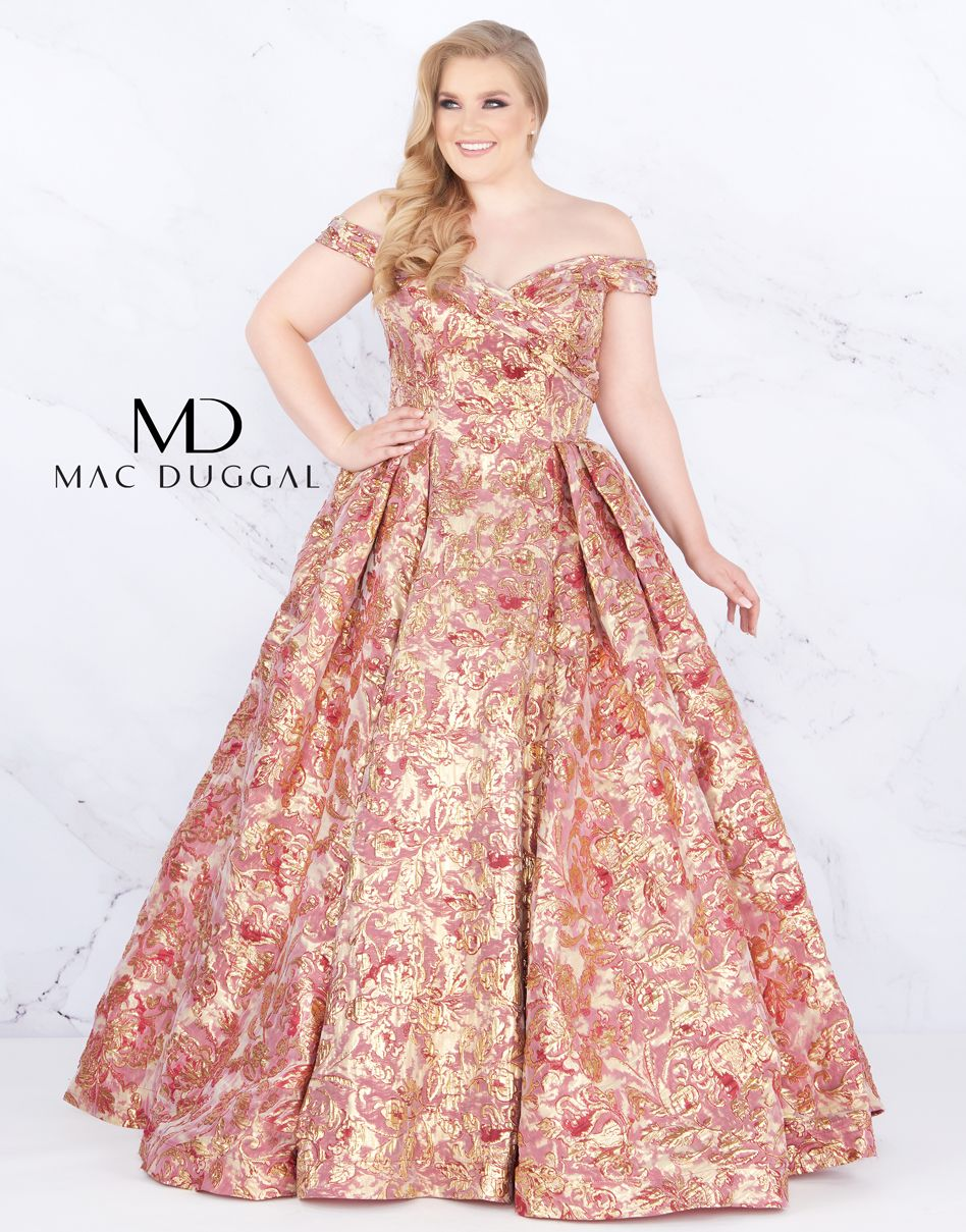 Off the shoulder, floral print, ball gown with slight train. | Prom ...