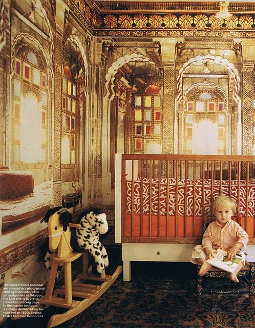 an exotic baby room with egyptian tent quilt as crib bedding and indian  palace photo mural