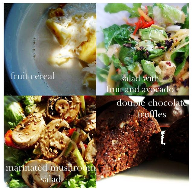 Raw on $10 a Day (or Less!): Raw Food Menu: March 10, 2013  -Fruit cereal, Salad with fruit and avocado, Marinated mushroom salad, Double cocolate truffles