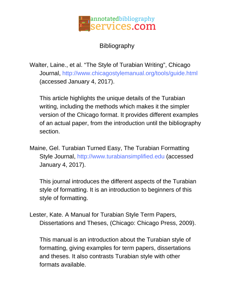 chicago turabian annotated bibliography
