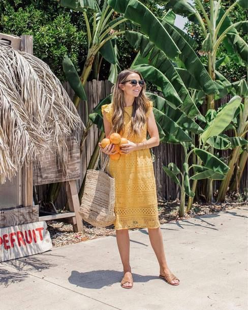 Summer Mustard Yellow Eyelet Ruffle Dress Teamed With Nude Leather Slides And Straw Bag Tumblr Beach