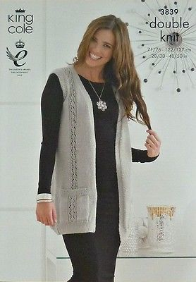 f9e85aa08998 KNITTING PATTERN Ladies Sleeveless Waistcoat with Pockets Inc Plus Sizes DK  3839