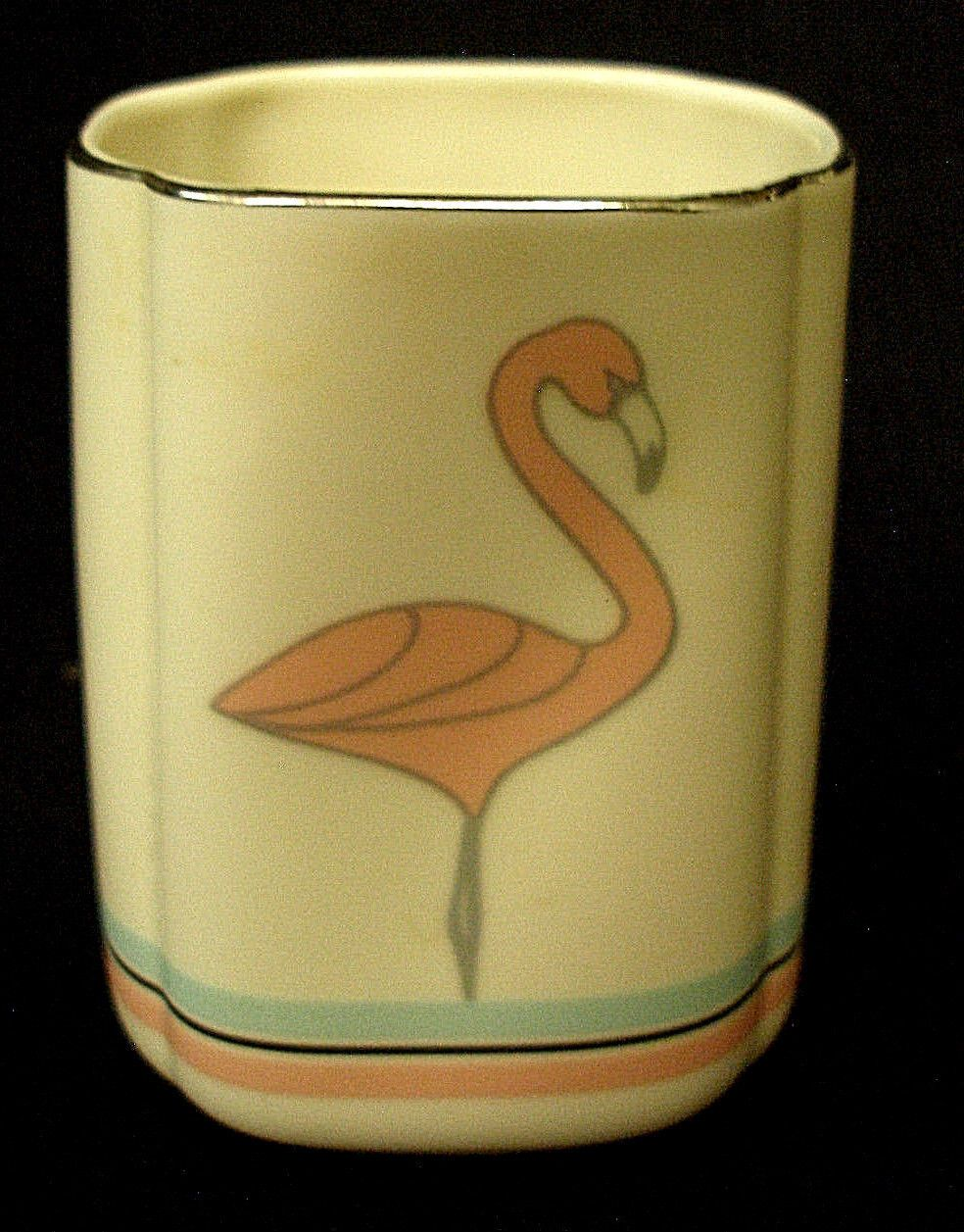 Vintage Art Deco Pottery Vanity Holder Dish Or Vase Pink Flamingo