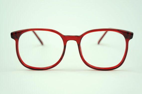 7e23973b20 Vintage CHERRY RED 80s Big Eye Glasses Oversized Frames New Old Stock  Plastic on Etsy, $48.50