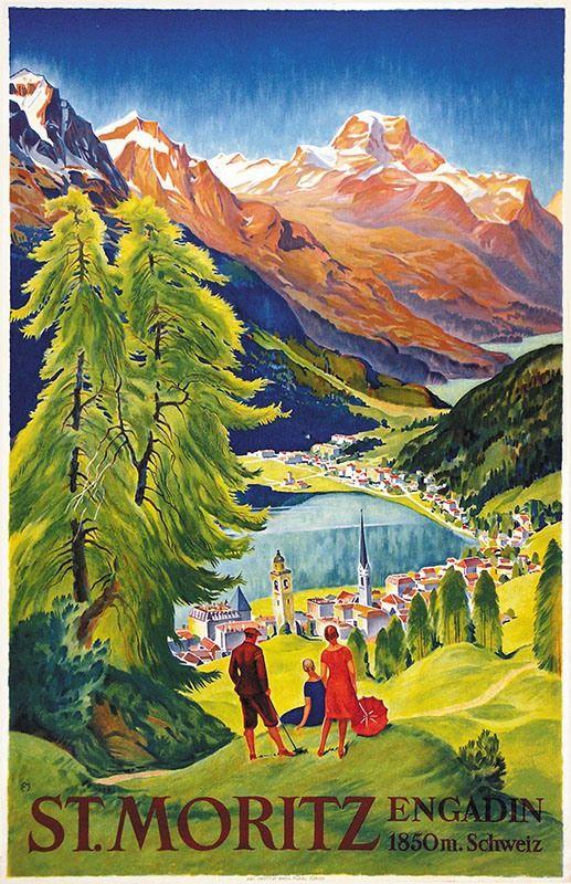 Carl Moos St Moritz Kunst Poster Retro Poster Posterdrucke