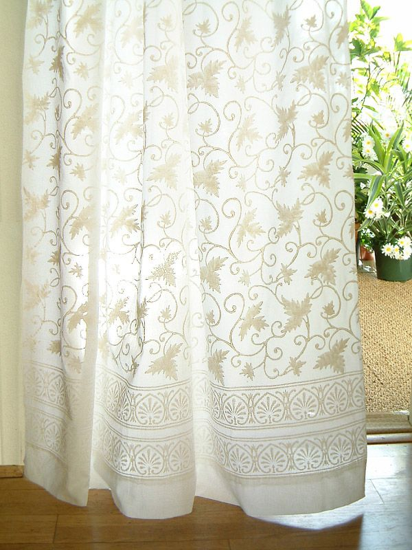 White Cotton Country Cottage Lace Tab Top Sheer Curtain Panel