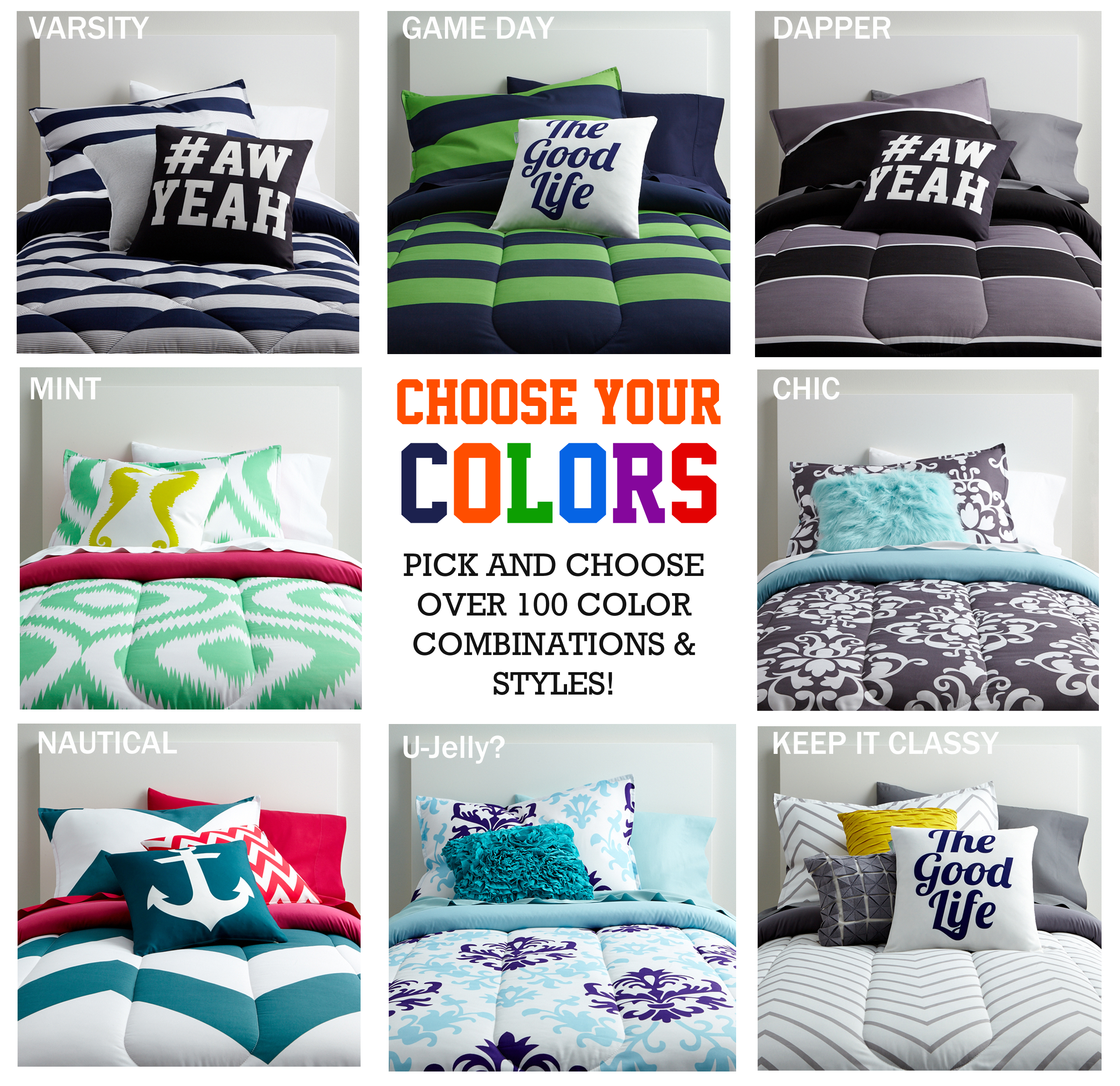 Get these dorm bedding styles exclusively at Twin