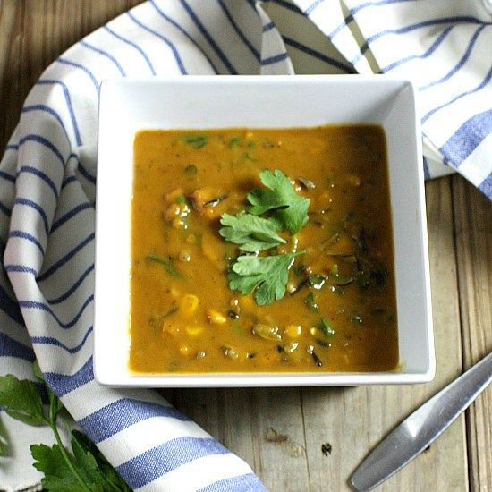 Butternut Squash Soup with Sausage and Spinach