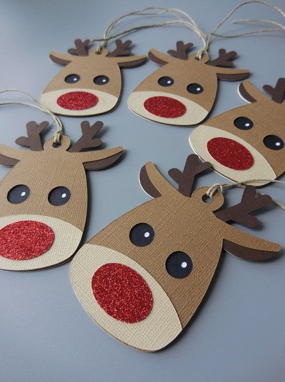 Christmas Tags, Rudolph Christmas Gift Tags, Holiday Gift Tags, Christmas Favor Tags, Christmas Gift Wrap, Christmas Ornaments