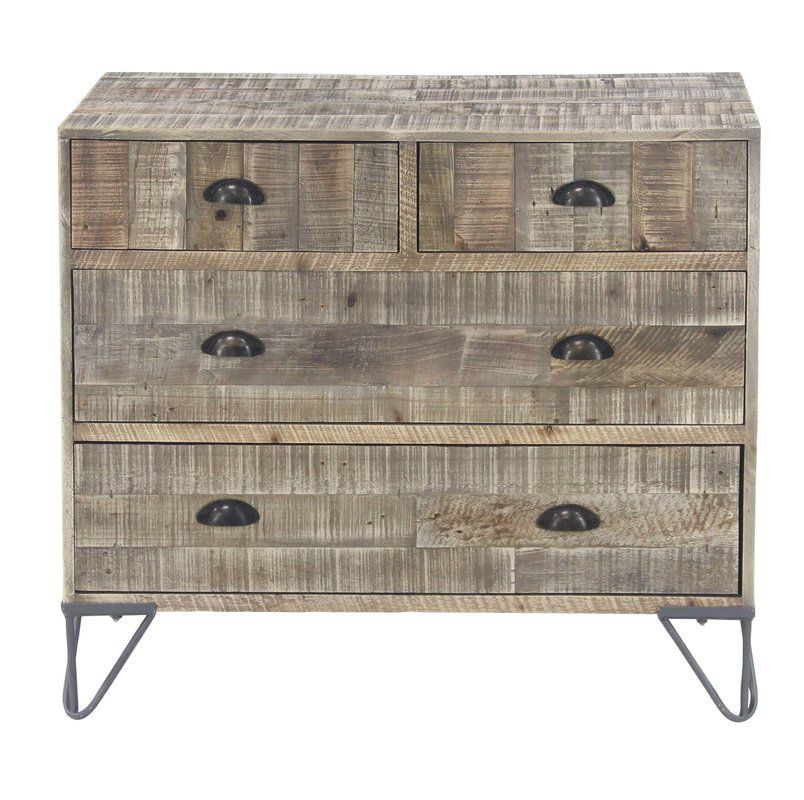 Alsey Rustic Teak And 4 Drawer Accent Chest Accent Chest Teak Metal Chest