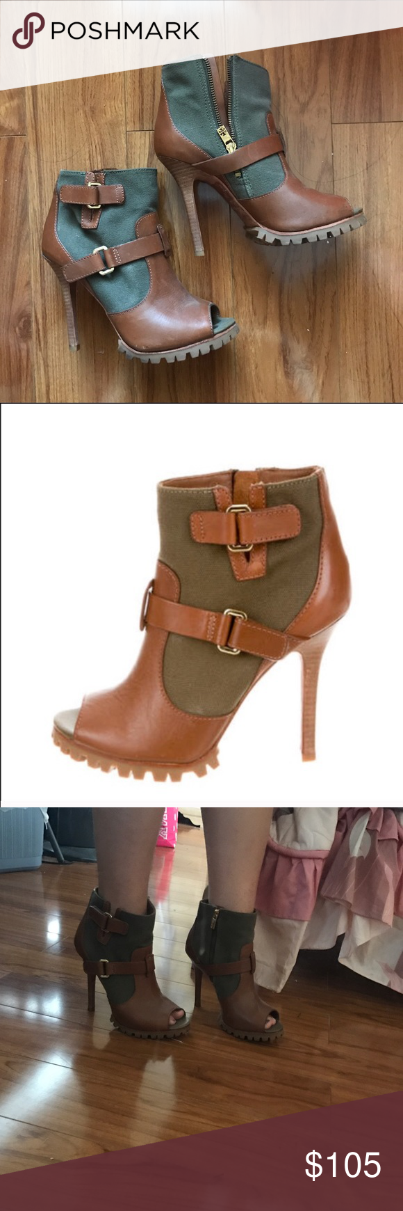 Tory Burch Heeled Leather Boots An awesome pair of Tory Burch booties with army green/olive canvas material, brown leather, and gold hardware. There's a zip on the inner side of the boot. Open toed. Has traction on the bottom of the shoe and provides a slide platform. On the bottom it says 9 1/2 M but I'm a size 8 and it almost fits me perfectly so I say its a size 8.5. Tory Burch Shoes Heeled Boots