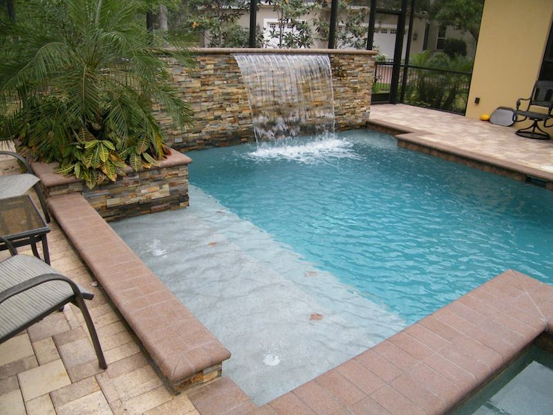Swimming Pool Features Ideas swimming pool waterfalls swimming pool cipriano landscape design mahwah nj Rock Wall Water Feature Small Pool Tanning Shelf